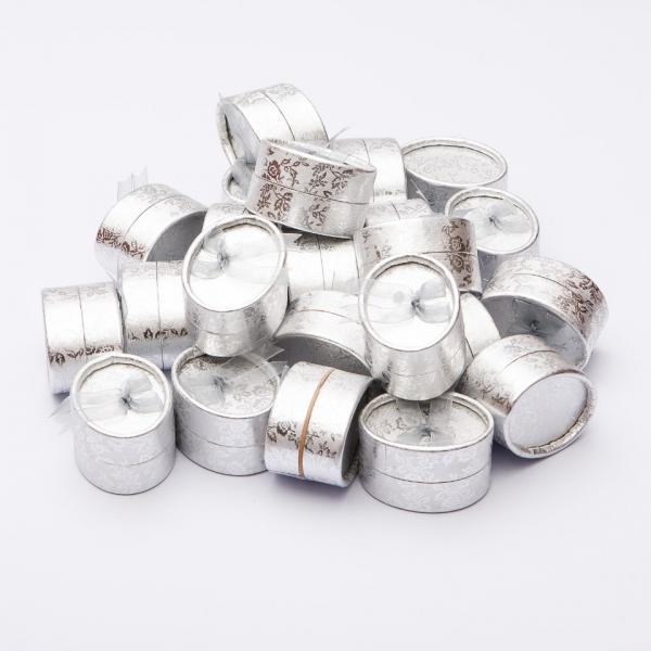 Коробочка для украшений серебристая овал малая 7/4/3,5см 24 шт.