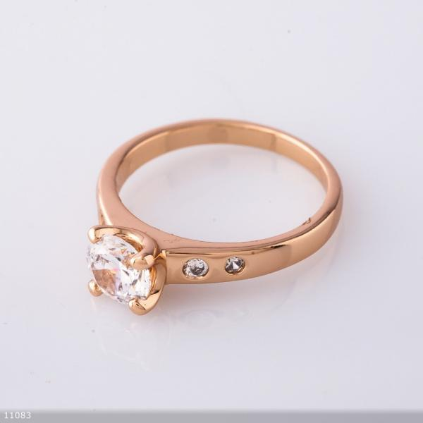 """Кольцо Хьюпинг цвет """"золотой"""" , белый камень"""