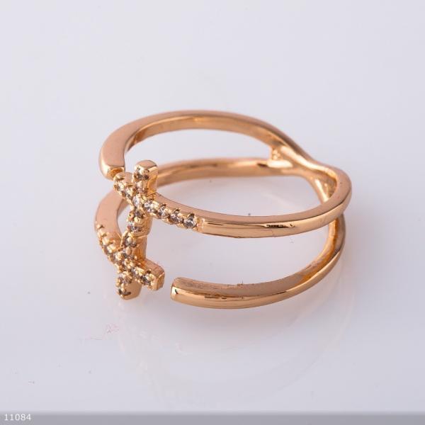 """Кольцо Хьюпинг цвет """"золотой"""" , крестики"""