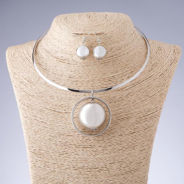 """Набор бижутерии """"Шар"""" ожерелье на обруче + серьги цвет """"серебро"""""""