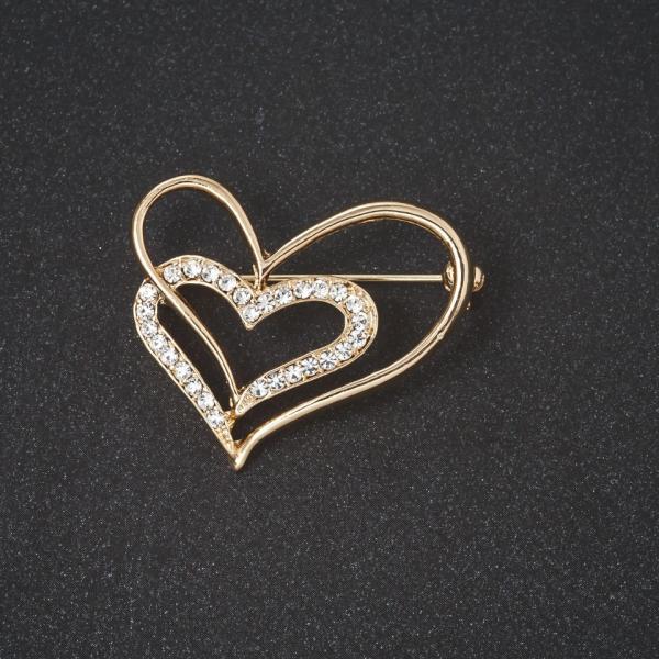 """Брошь  """"Сердце в сердце """" стразы,  цвет металла  """"золото"""" 3см"""