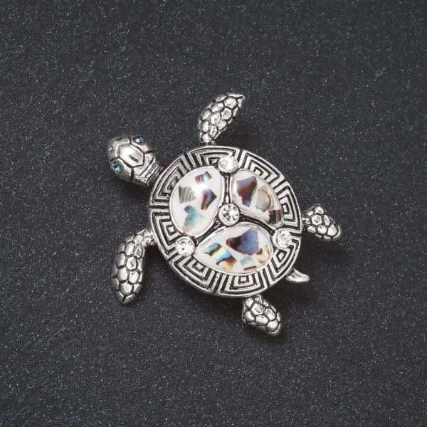 """Брошь """"Морская черепаха"""" с халиотисом цвет металла """" серебро"""" 3,6 см"""