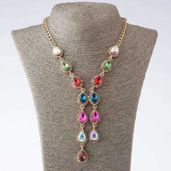 """Колье на цепочках """"Эйфория"""" с разноцветными кристаллами каплями L-45-50см  цвет металла """"золото"""""""