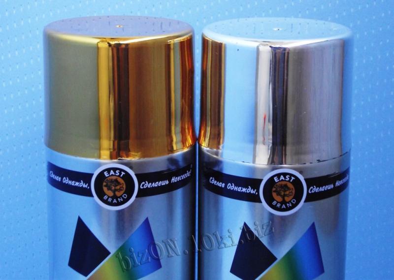 Фото Краски аэрозольные Быстросохнущая аэрозольная акриловая краска Металлик/Metallic,  «MONARCA»,    цвета – Яркое Золото и Яркий Хром