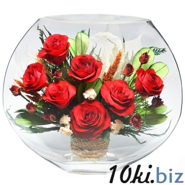 Цветы в стекле: Композиция из красных роз Фигурки, статуэтки в России