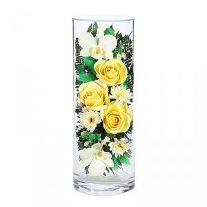 Фото  Композиция из роз и орхидей