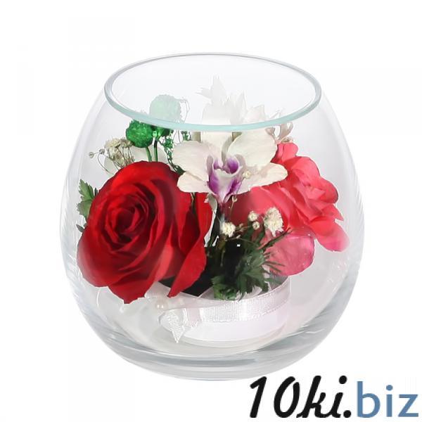 Цветы в стекле: Композиция из роз и орхидей Фигурки, статуэтки в России