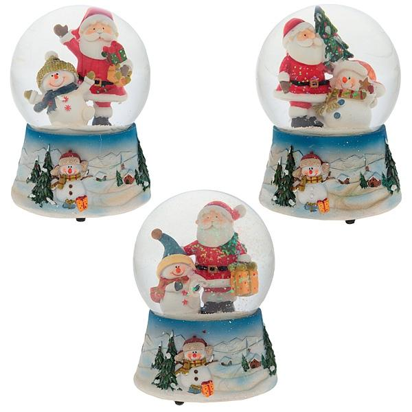 """Фигурка декоративная в стеклянном шаре """"Санта, снеговик"""" с музыкой, L10,5 W10,5 H14,5 см, 3 в."""