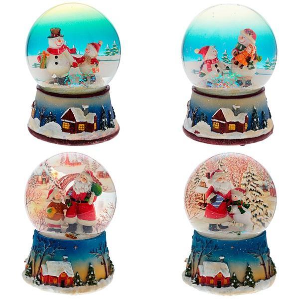 """Фигурка дек в стеклянном шаре с музыкой """"Санта и Снеговик"""", 3D, L11 W11 H15 см, 2 в."""
