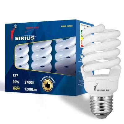 Люминесцентная лампа Сириус ЭКО 20W Мягкий свет Спираль E27