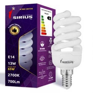 Фото Лампы люминисцентные Люминесцентная лампа Сириус 13W Мягкий свет Спираль E14