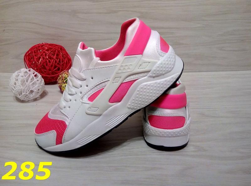 Кроссовки хуарачи бело-розовые
