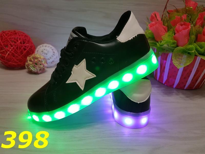 Черные кеды со звездой с LED подсветкой
