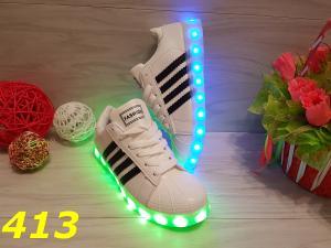 Фото Кроссовки, кеды Кроссовки со светящейся подошвой LED белые с черными полосами