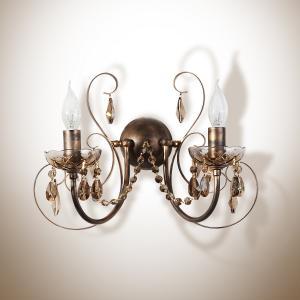 Фото Светильники, бра, люстры, Коллекция бра, люстры кованый метал+ керамика+хрусталь Арианда Бра настенный 2 лампы