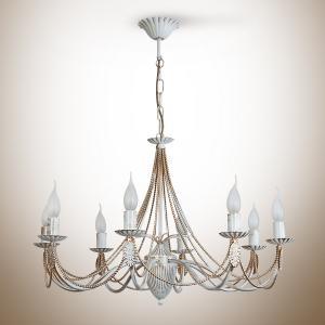 Фото Светильники, бра, люстры, Коллекция бра, люстры кованый метал+ керамика+хрусталь Ванесса Люстра 8 ламп