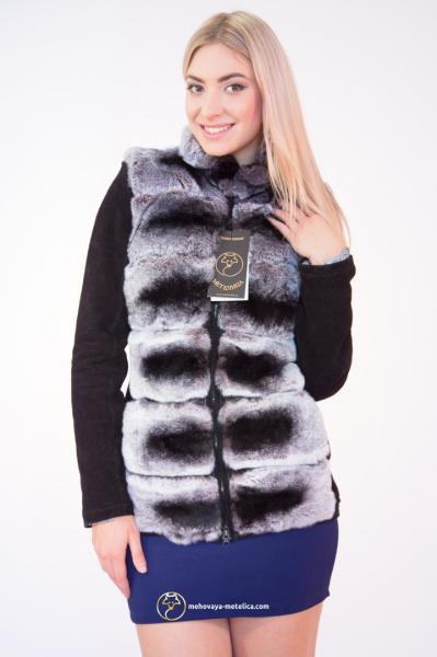 Куртка-трансформер из меха шиншиллы-рекс «Софо»