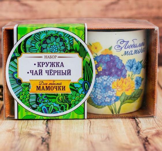"Набор ""Любимая мамочка"": кружка (цветочная) 300 мл, чай чёрный 100 г"