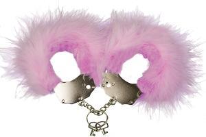 Фото BDSM и электростимуляторы, BDSM игрушки и аксессуары Наручники металлические с розовой отделкой Adrien Lastic Handcuffs Pink