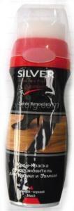 Фото Средства по уходу за обувью, Крема для обуви  Крем-краска Silver жидкая для нубука и замши (75 мл) черный