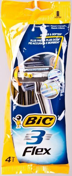 Станок одноразовый для бритья, мужской BIC «3 Flex» 3 лезвия (4 станка в комплекте) Греция