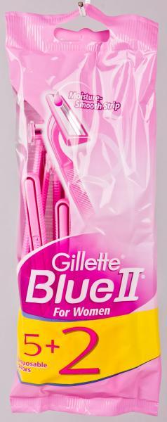 Станок одноразовый для бритья, женский GILLETTE «Blue II Women» 2 лезвия (7 станков в комплекте) Польша