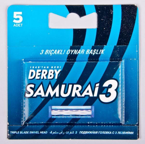 """Кассеты для бритья DERBY """"Samurai 3"""", 5 шт (Турция)"""