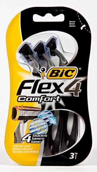 Станок для бритья «BIC» (одноразовый, серия Flex 4 Comfort, уп. 3 шт, Греция)
