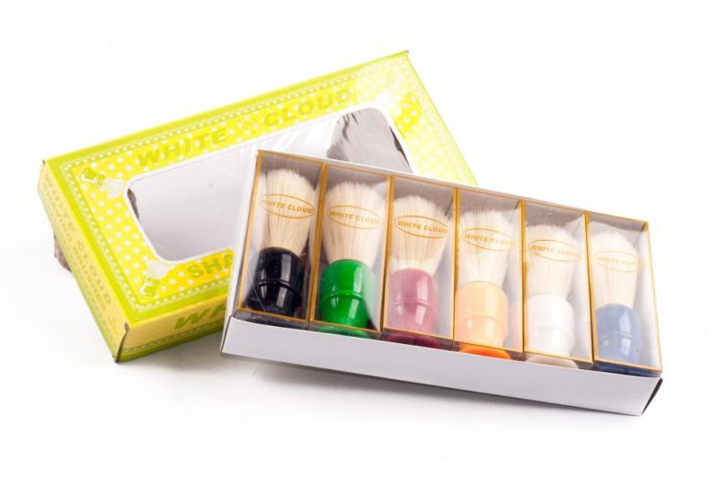 Помазок для бритья (материал пластмасса, ворс, в упаковке 6 шт. разных цветов, с золотым ободком, Китай)White Cloud
