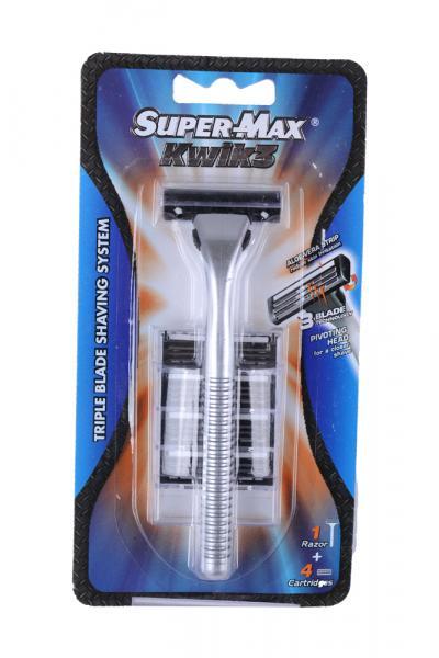 Станок для бритья со сменными кассетами Super max Kwik 3, Индия