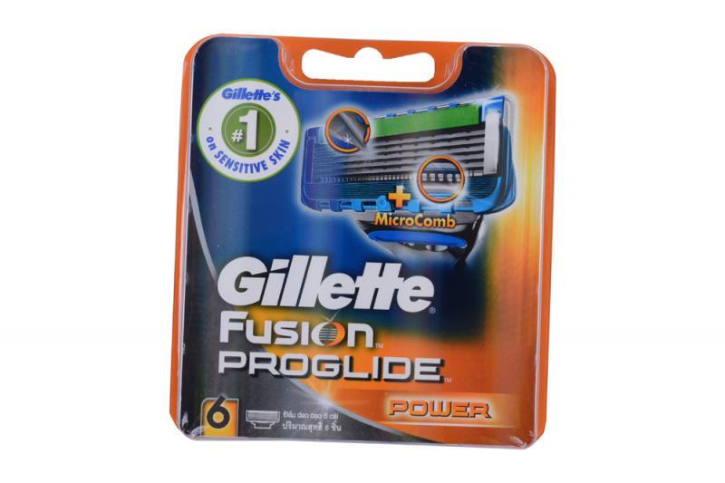 Фото Станки и лезвия, наборы подарочные, картриджи для бритв, Картриджи Картридж для бритвенного станка Gillette Fusion Proglide Power (6 шт), Германия