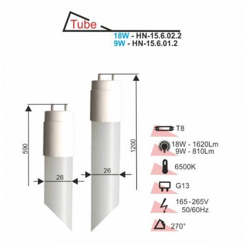 Лампа RIGHT HAUSEN LED T8 NANO PLASTIC 9W 590mm 6500K