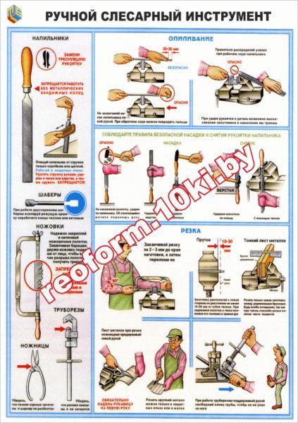 Плакат Ручной слесарный инструмент 2