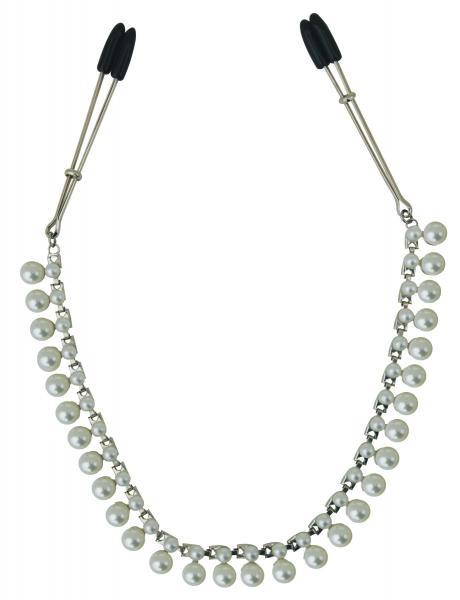 Цепочка с зажимами для сосков Sportsheets Midnight Pearl Chain Nipple Clips