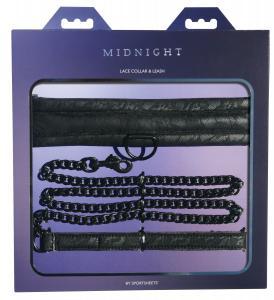 Фото BDSM и электростимуляторы, BDSM игрушки и аксессуары Ошейник с поводком Sportsheets Midnight Lace Collar and Leash
