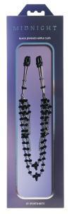 Фото BDSM и электростимуляторы, BDSM игрушки и аксессуары Украшение цепочка с зажимами для сосков Sportsheets Midnight Black Jeweled Nipple Clips