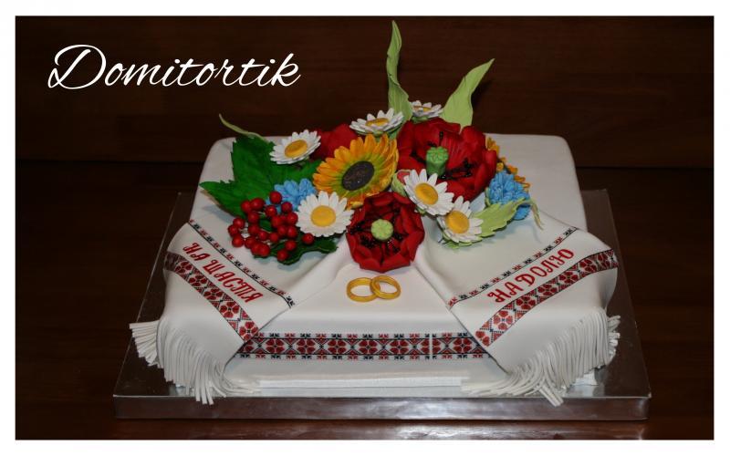 Торт свадебный в украинском стиле