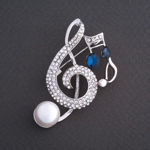 """Брошь """"Скрипичный ключ с нотами"""" синий кристалл 5х4см цвет металла """"серебро"""""""