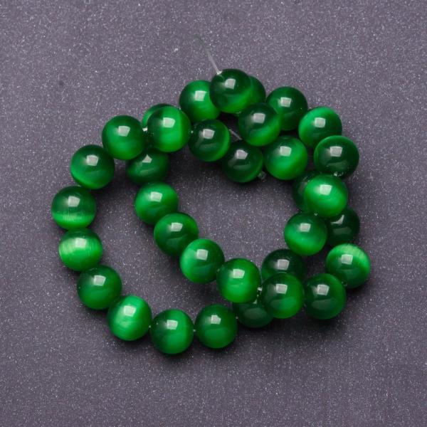 Бусины натуральный камень на нитке кошачий глаз темно Зеленый d-12мм L-37см