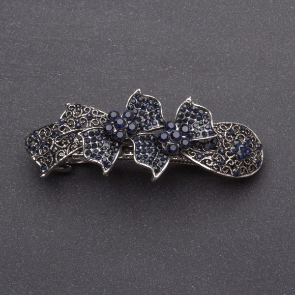 Заколка для волос Бантики с темно синими кристаллами серебристая L-8см автомат