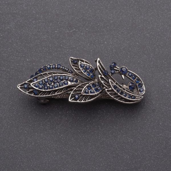 Заколка для волос Жарптица с темно синими кристаллами серебристая L6,5-см автомат