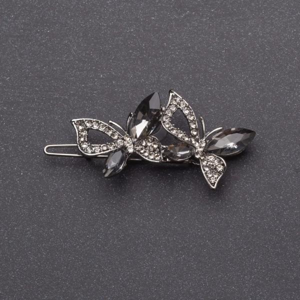 Заколка для волос Бабочки с серыми кристаллами серебристая L-5см