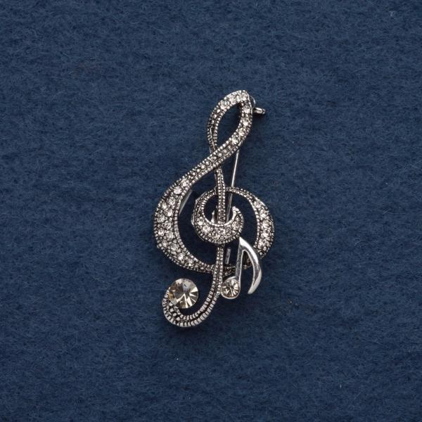 """Брошь """"Скрипичный ключ"""" 5х2,5см, серый металл"""