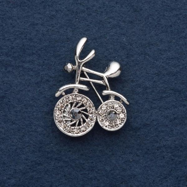 "Брошь ""Велосипед"" 2,5х3,5см серый металл"