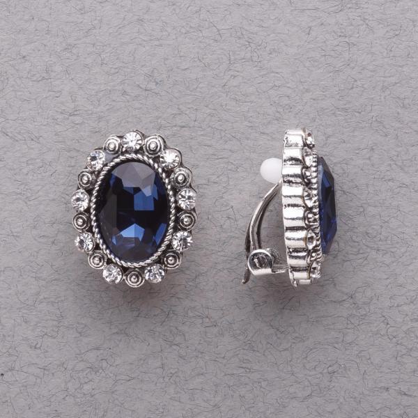 """Клипсы с синими кристаллами классические """"под старину"""" L-2см"""