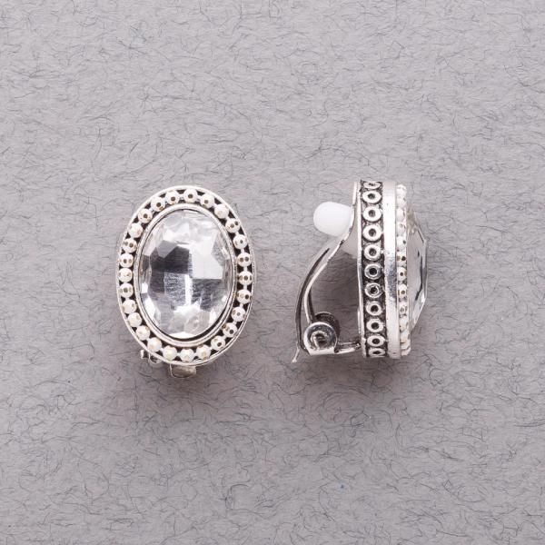 """Клипсы с белыми кристаллами классические """"под старину"""" L-2см"""