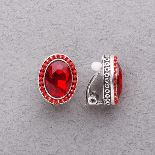 """Клипсы с красными кристаллами классические """"под старину"""" L-2см"""