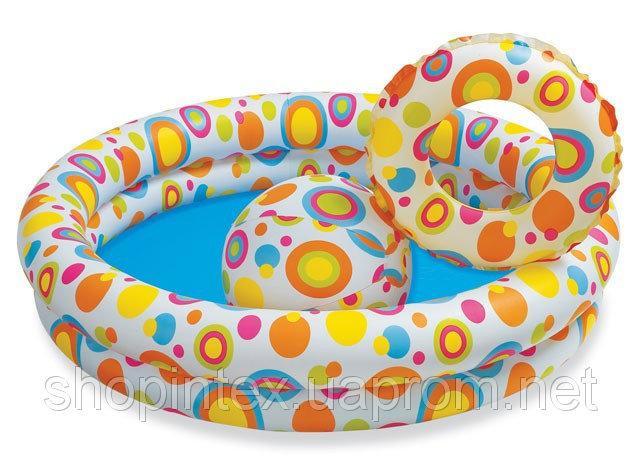 Надувной бассейн Звезды с мячом и кругом 122х25см, Intex 59460