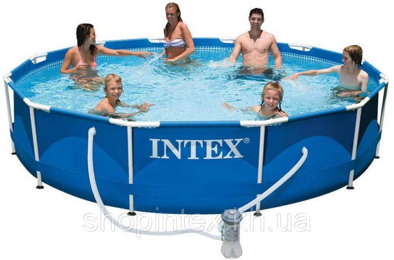 Каркасный бассейн Metal Frame 3,66х0,76м с насосом 2м3/ч Intex 28212