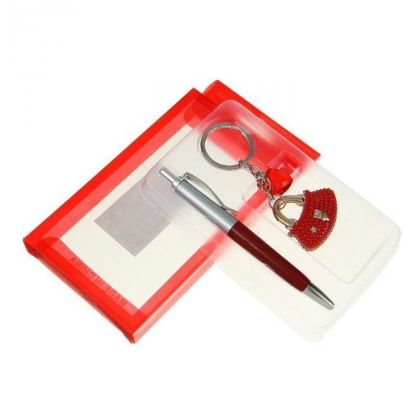 Набор подарочный 2в1 в блистере (ручка+брелок-Сумка с сердцем) красный 7*12,5см